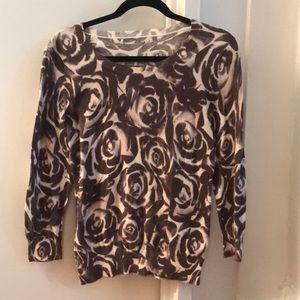 Banana Republic Purple Floral Long Sleeve Size S